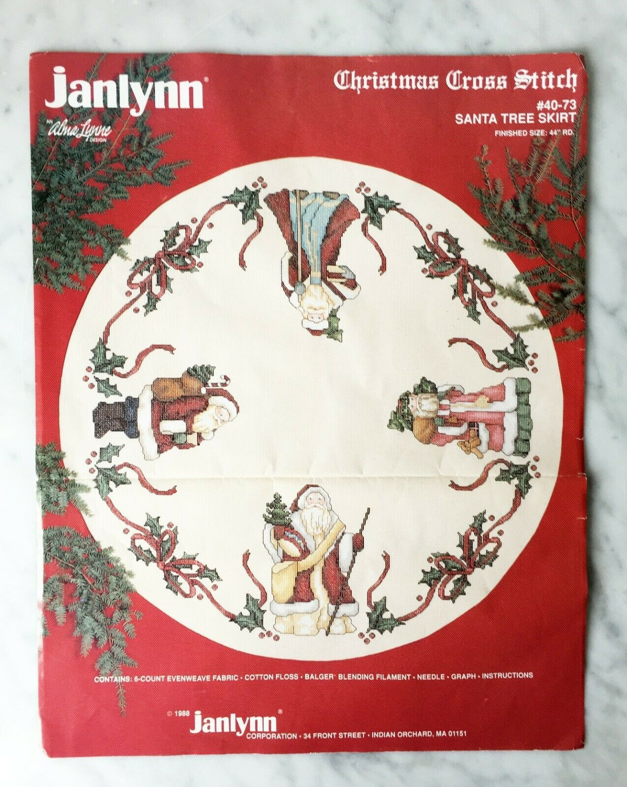 Primary image for Vintage Janlynn Christmas Cross Stitch Santa Tree Skirt Kit #40-73 - Started