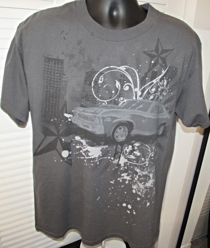 "Men's Gray Graphic T-Shirt ""Chevy Nova Super Charged""  Size L"