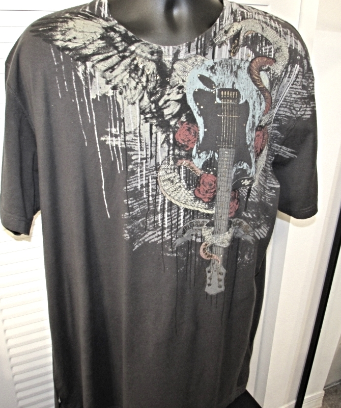 "Marc Ecko Men's Graphic Gray T-Shirt ""Guitar,Snake,Roses"" Print Size: 2XL"