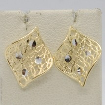 Yellow Gold Earrings White 750 18K to Leaf Wavy Lozenge Made in Italy - $131.32