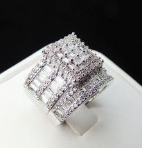 Princess Cut Sim Diamond 925 Silver White Gold Plated Bridal Engagement ... - $120.75