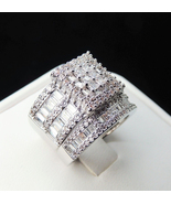 Princess Cut Sim Diamond 925 Silver White Gold Plated Bridal Engagement ... - $126.64