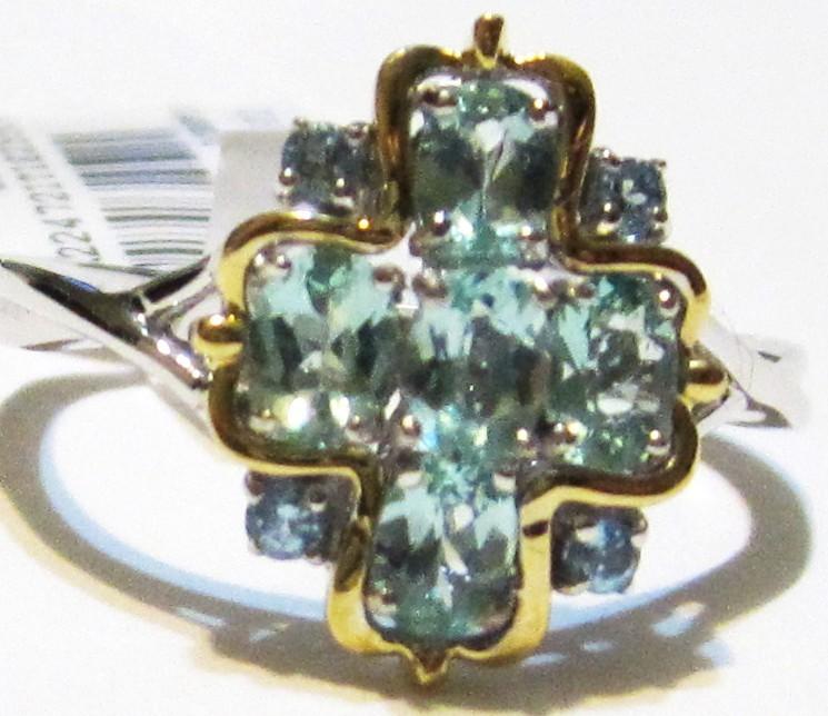 18K MULTI-GOLD BLUE APATITE OVAL & BLUE TOPAZ RING, SIZE 7, 1.02(TCW), 3.40GR