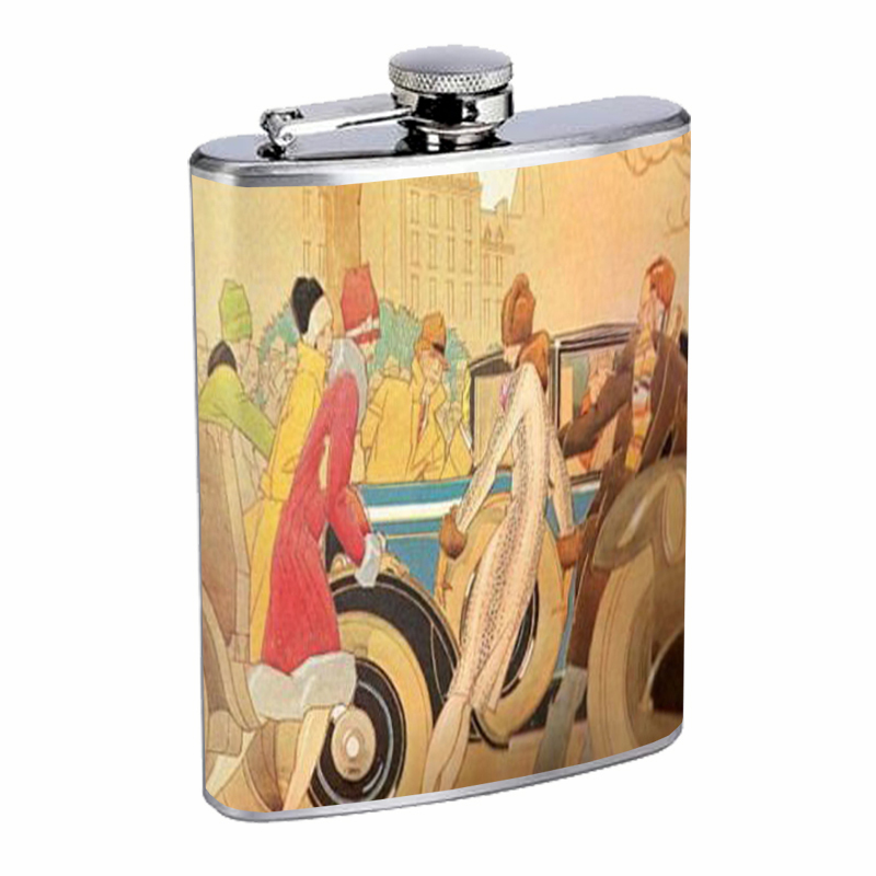 Primary image for 1920s FLAPPERS WITH VINTAGE CAR ART DECO Flask 8oz Stainless Steel D-022