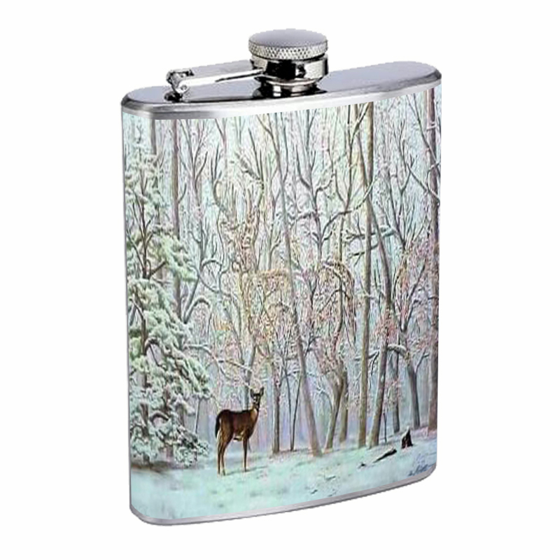 Primary image for Deer Optical Illusion Hidden Flask 8oz Stainless Steel D-079