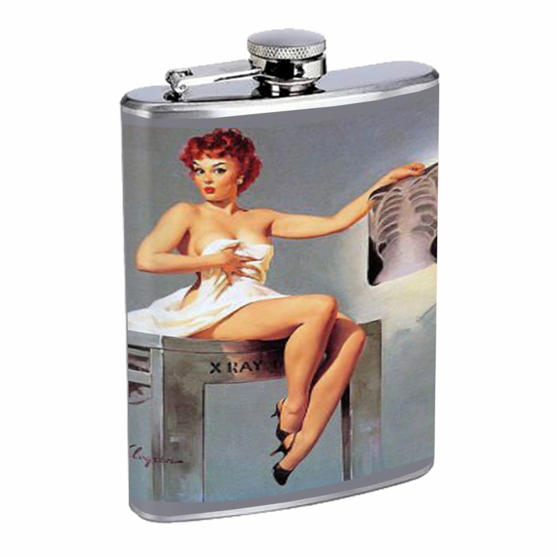 Primary image for Pin Up Redhead Girl Chest X-Ray Flask 8oz Stainless Steel D-066