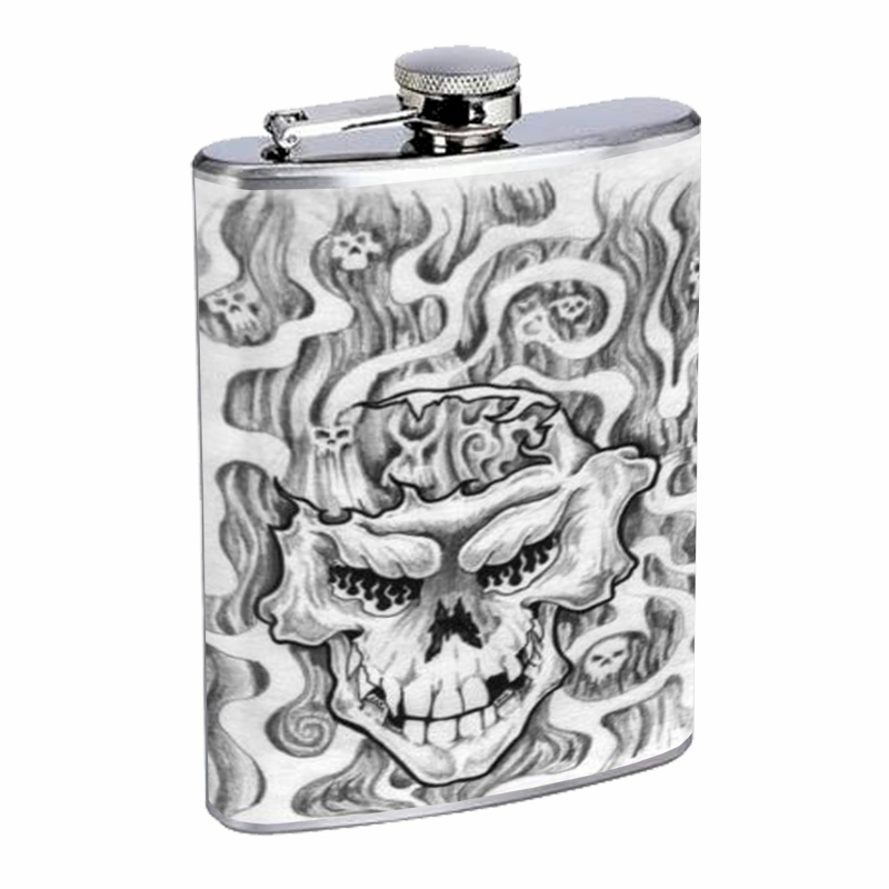 Primary image for Skull Tattoo Scary Horror Flask 8oz Stainless Steel D-124