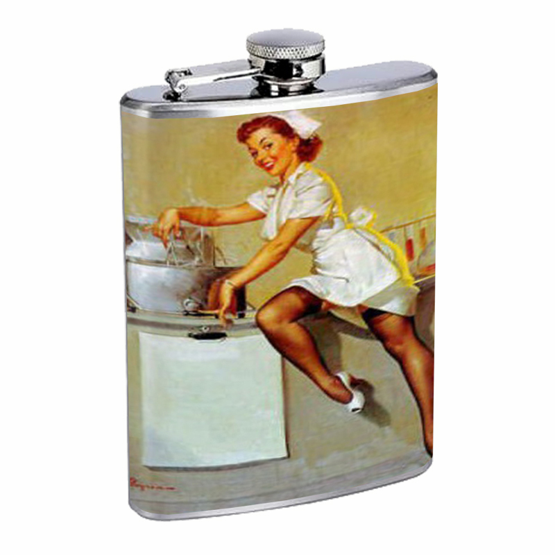 Primary image for Pin Up Redhead Sexy Nurse Flask 8oz Stainless Steel D-236