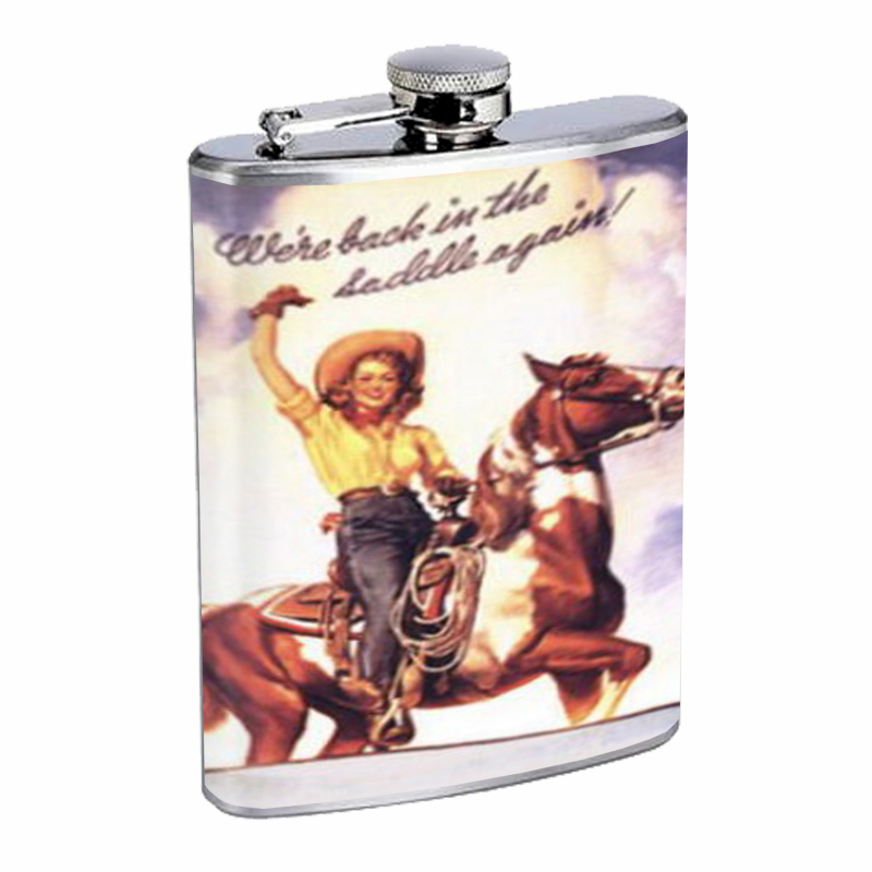 Primary image for Western Pin Up Girl With Horse Flask 8oz Stainless Steel D-240