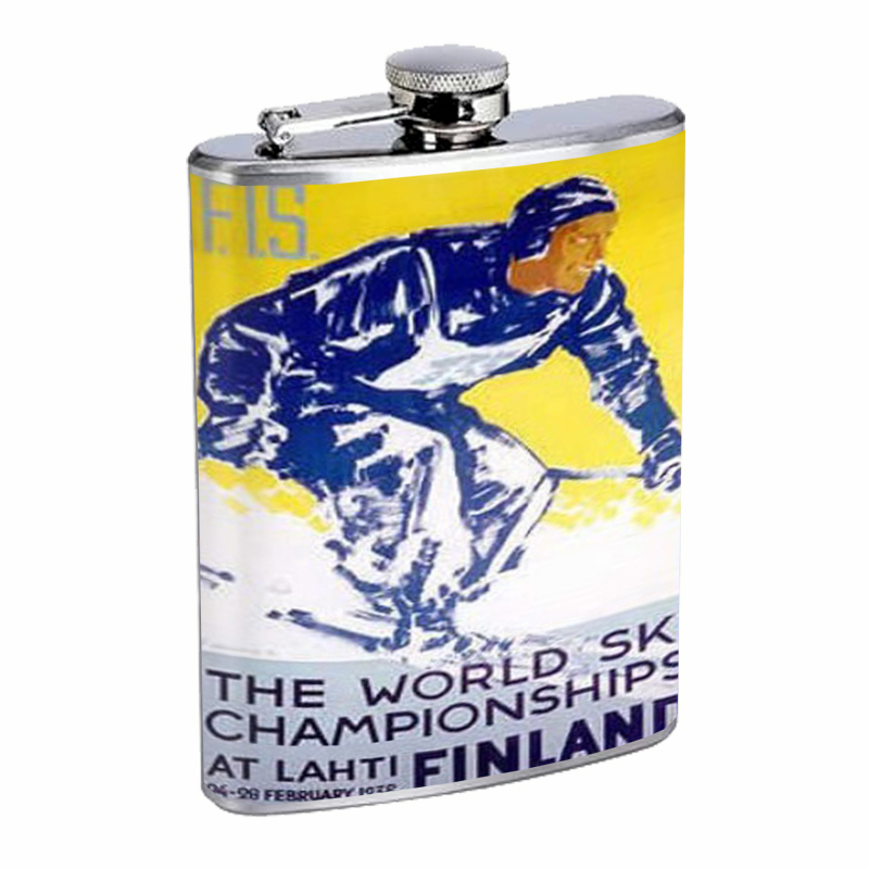 Primary image for Ski Finland 1938 Retro Travel Flask 8oz Stainless Steel D-251