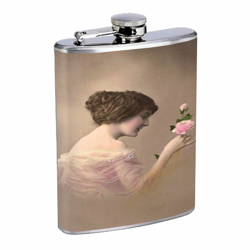 Primary image for 1914 Lovely Young Woman Photo, Flask 8oz Stainless Steel D-311
