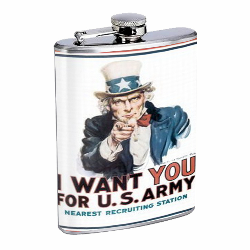 Primary image for Uncle Sam Recruiting Poster Flask 8oz Stainless Steel D-302