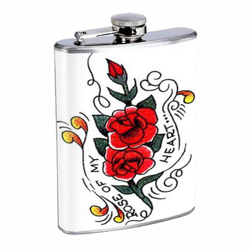Primary image for Rose of my Heart Tattoo Retro Flask 8oz Stainless Steel D-340