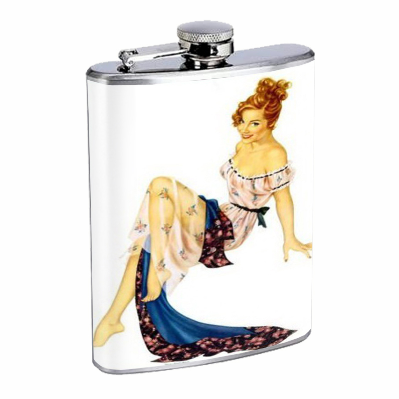 Primary image for Pin Up Redhead Girl Next Door Flask 8oz Stainless Steel D-450