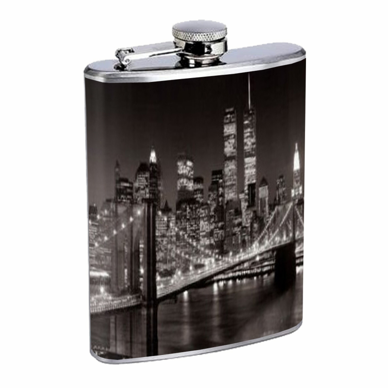 Primary image for New York City Skyline At Night Flask 8oz Stainless Steel D-440