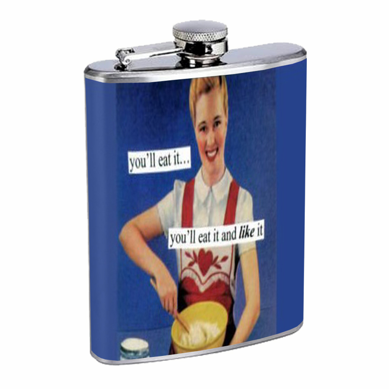 Primary image for You'll Eat It And Like It Retro Housewife Flask 8oz Stainless Steel D-498