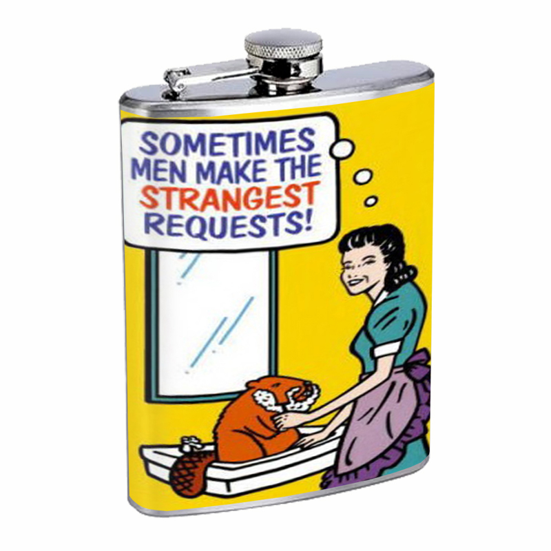 Primary image for Woman Shaving Beaver Funny Flask 8oz Stainless Steel D-496