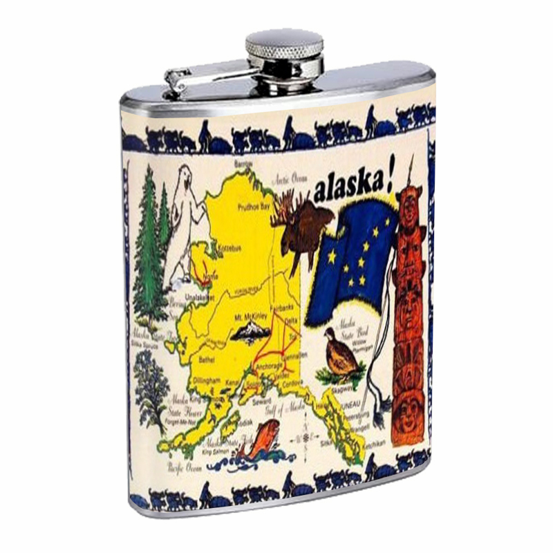 Primary image for Alaska Map and Facts, GREAT Flask 8oz Stainless Steel D-504