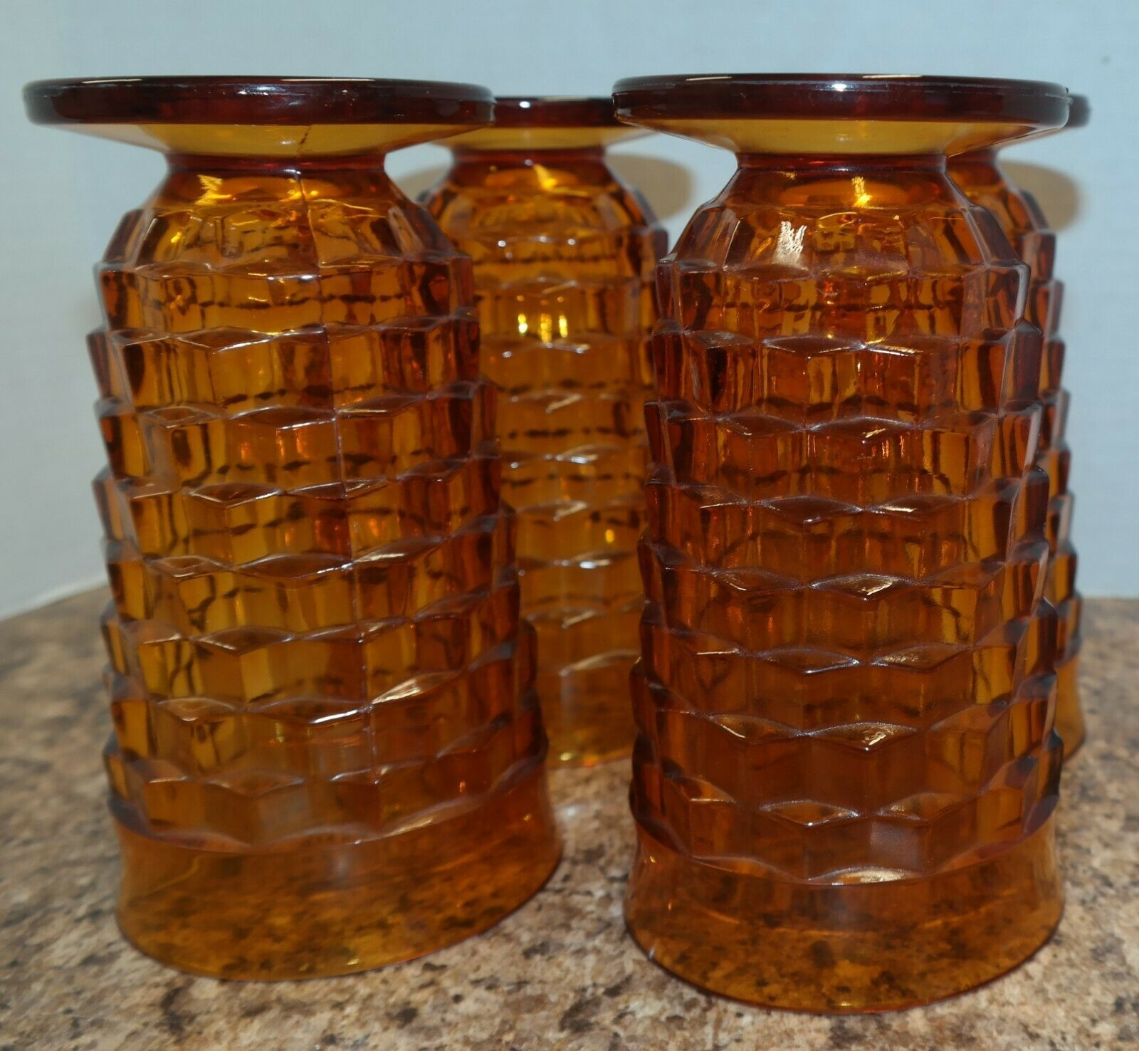 Lot Of 4 Amber Iced Tea Glasses Whitehall Colony Indiana Glass Footed 14 oz Vtg