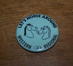 VINTAGE LETS HORSE AROUND OTB WESTERN NY REGIONAL RACING ADVERTISING PIN... - $5.93