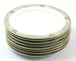 Set of 8 Vintage Hutschenreuther Dinner Plates, Blue Pink Floral Gold, Bavaria - $89.09