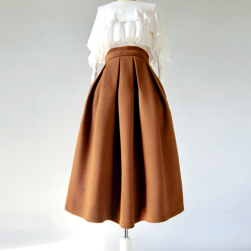 Winter Wool-Blend Skirt Brown Midi Party Skirt Outfit Plus Size