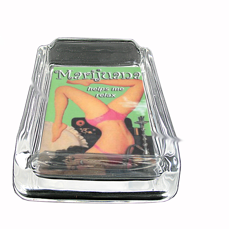 Primary image for Marijuana Helps Me Relax Pinup Glass Square Ashtray 195