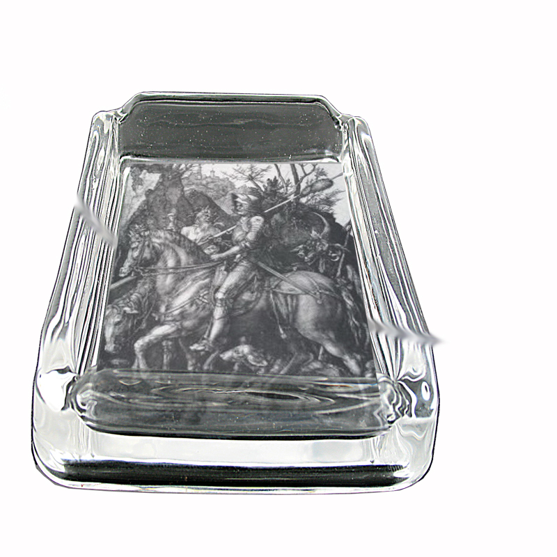 Primary image for Albrecht Durer Knight Death Devil Glass Square Ashtray 211