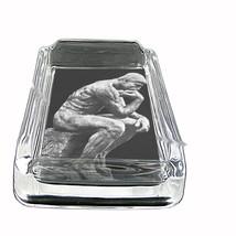 Auguste Rodin The Thinker Glass Square Ashtray 317 - $13.48