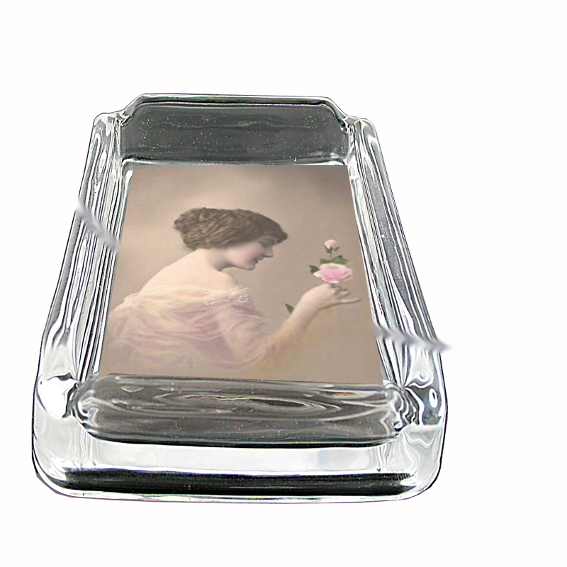 Primary image for 1914 Lovely Young Woman Photo, Glass Square Ashtray 311