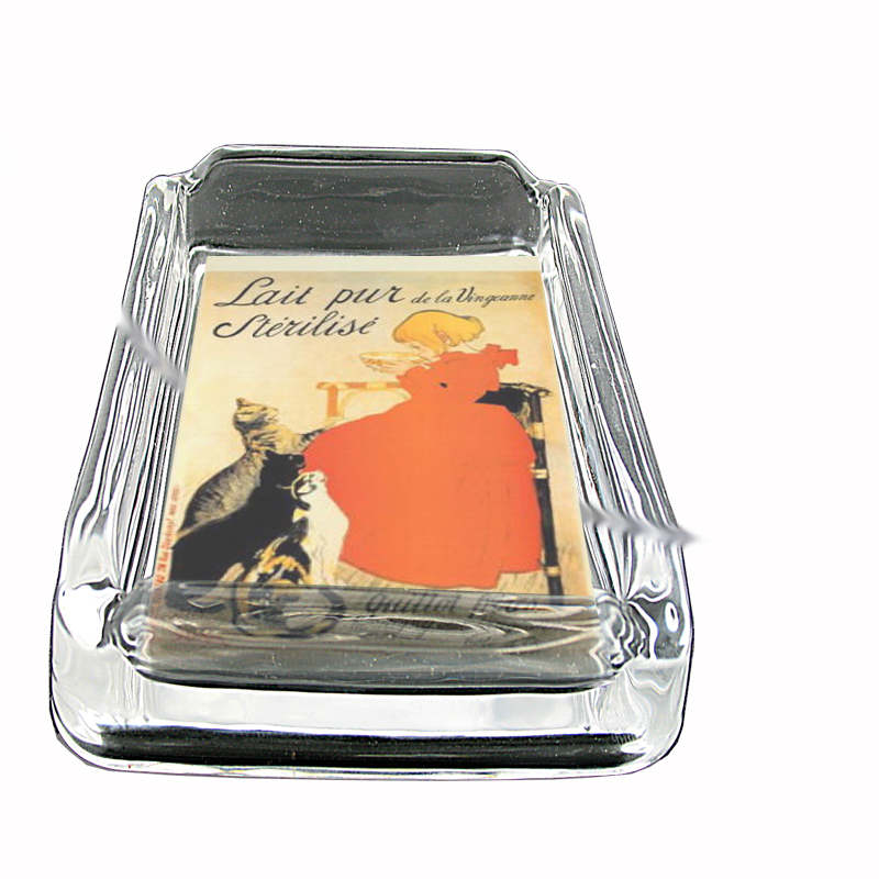 Primary image for Vintage French Milk Ad Cats Glass Square Ashtray 487