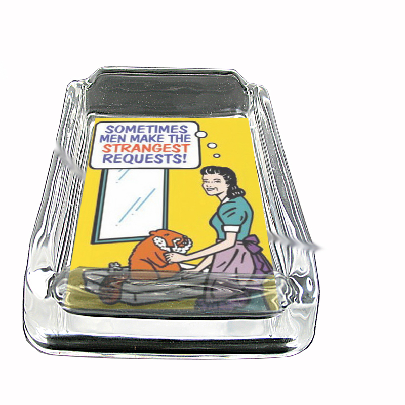 Primary image for Woman Shaving Beaver Funny Glass Square Ashtray 496