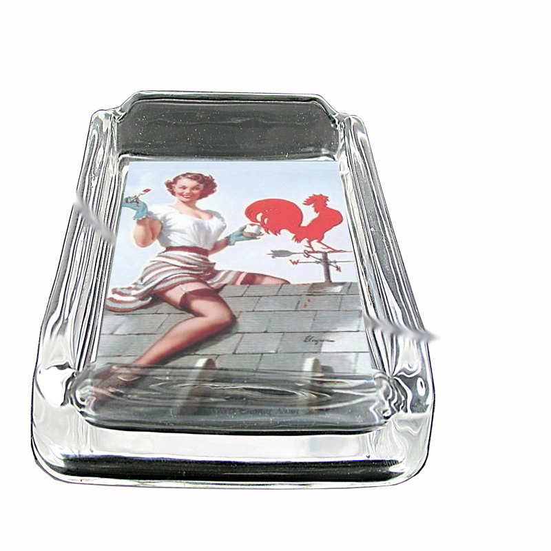 Primary image for Pin Up Girl Painting Weathervane Glass Square Ashtray 544