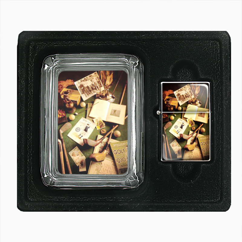 Primary image for Golf 1930 Antique Memorabilia Glass Ashtray Oil Lighter Gift Set 016