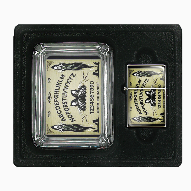 Primary image for Ouija Goth Skeleton Skull Punk Glass Ashtray Oil Lighter Gift Set 075