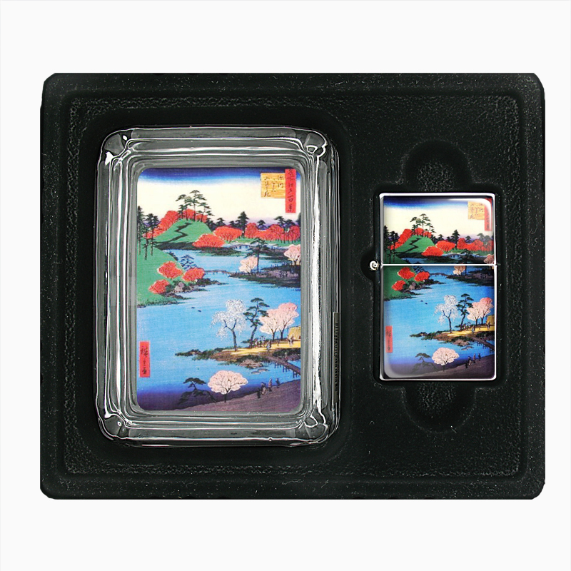 Primary image for Japanese Woodblock Along River Glass Ashtray Oil Lighter Gift Set 061