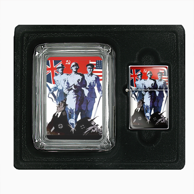 Primary image for Victory Soviet Russian World War Ii Glass Ashtray Oil Lighter Gift Set 109