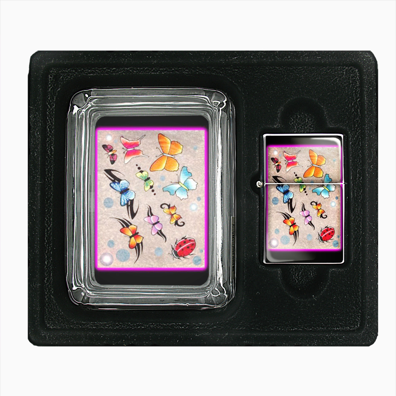 Primary image for Butterfly Colorful Modern Art Glass Ashtray Oil Lighter Gift Set 142