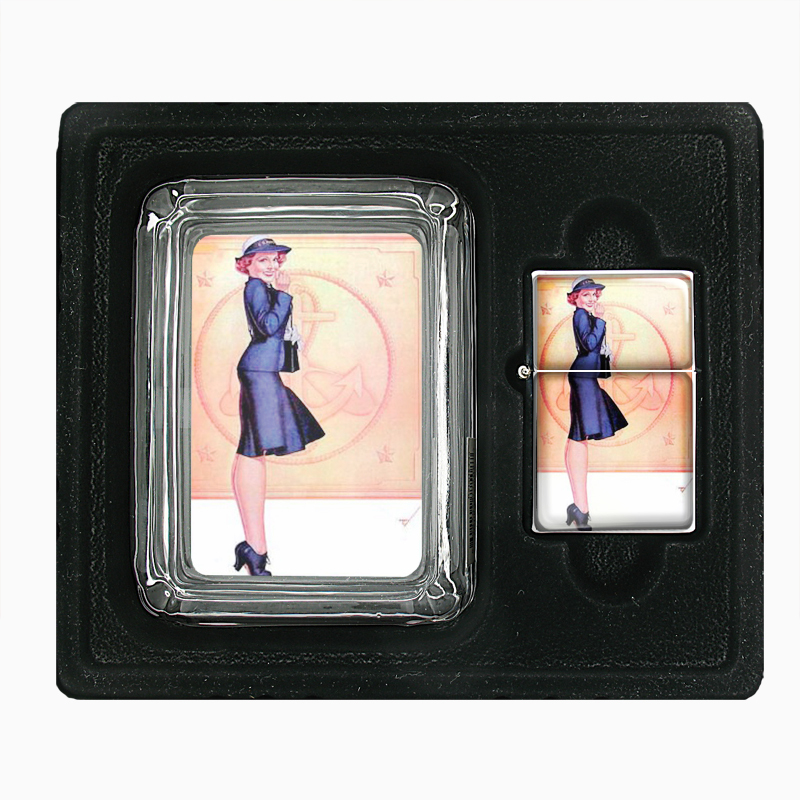 Primary image for Vintage Navy Sailor Petty Girl Pin Up Glass Ashtray Oil Lighter Gift Set 073