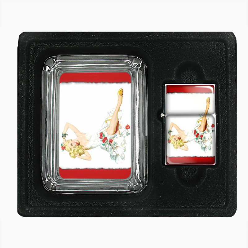 Primary image for Pin Up Blonde with Red Roses Double-Sided Glass Ashtray Oil Lighter Gift Set 229