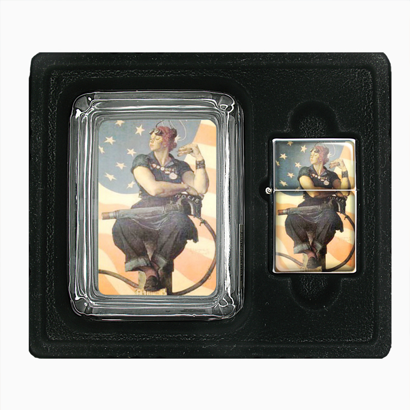 Primary image for Rosie The Riveter Norman Rockwell Glass Ashtray Oil Lighter Gift Set 171