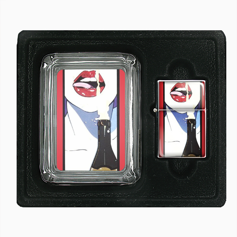 Primary image for Sexy Woman Drink Champagne Double-Sided Glass Ashtray Oil Lighter Gift Set 230