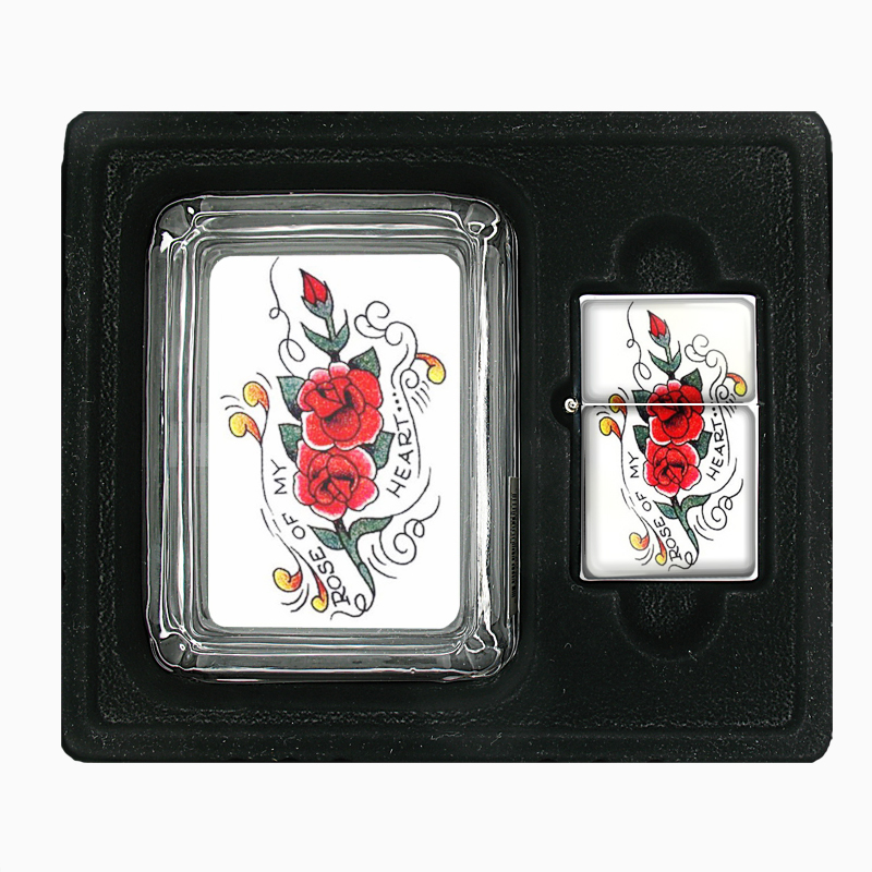 Primary image for Rose of my Heart Tattoo Retro Glass Ashtray Oil Lighter Gift Set 340