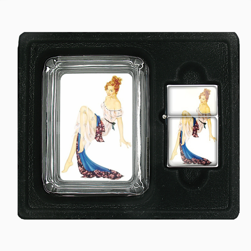 Primary image for Pin Up Redhead Girl Next Door Glass Ashtray Oil Lighter Gift Set 450