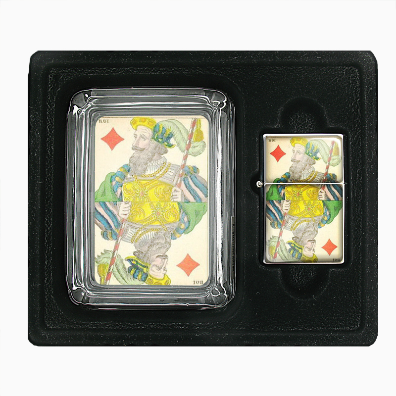Primary image for Playing Card 1850 King Diamond Glass Ashtray Oil Lighter Gift Set 459