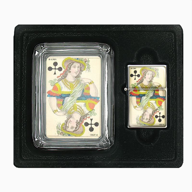 Primary image for Playing Card 1850 Queen Clubs Glass Ashtray Oil Lighter Gift Set 460