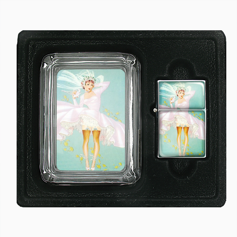 Primary image for Sexy Bride Lifted Dress Retro Glass Ashtray Oil Lighter Gift Set 532