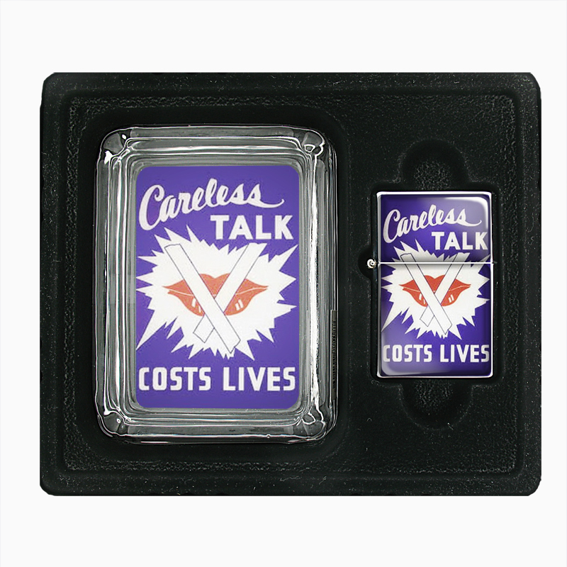 Primary image for World War II Careless Talk Lip Glass Ashtray Oil Lighter Gift Set 497