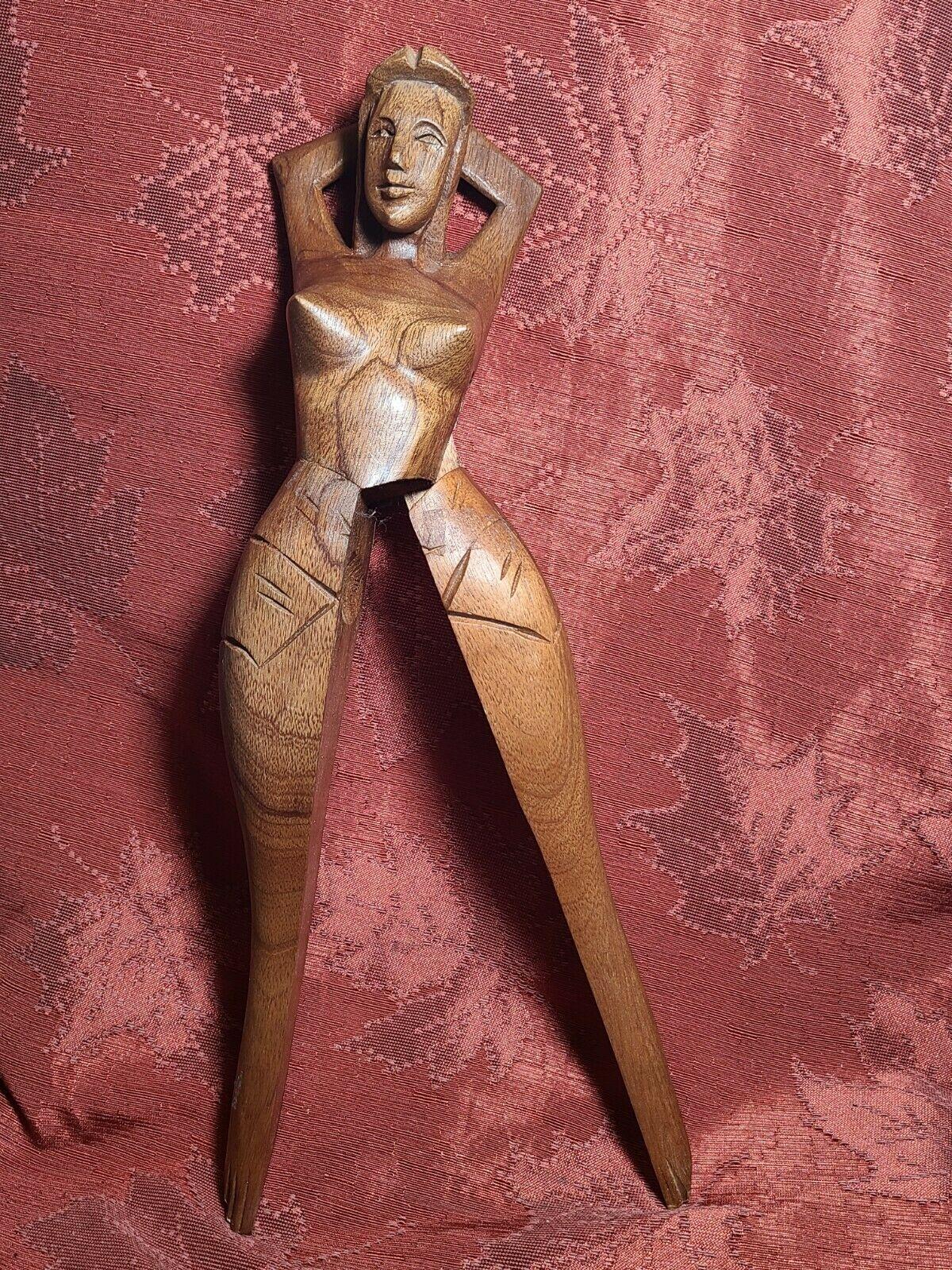 Vintage Hand Carved Wood Nude Woman Shape Nutcracker