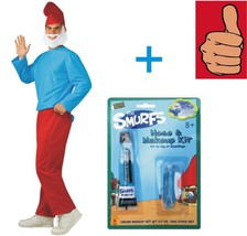Smurfs - Papa Smurf Costume + Makeup Kit- Adult - Size XL - 44-46 Jacket... - $29.02